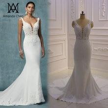 فستان عروس بسيط أنيق قبعة الأكمام الدانتيل يزين ثقب المفتاح الخلفي شاطئ فستان الزفاف