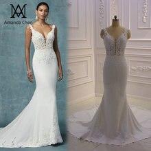 Vestido de noiva simples elegante, manga de boné, apliques de renda, keyhole, costas, praia, vestido de casamento
