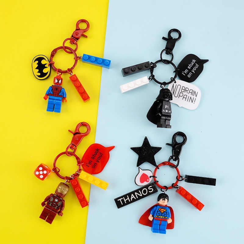 De Avengers Bouwsteen Sleutelhangers Lego Justice League Superman Jedi Sleutelhanger Liefhebbers Creativiteit Bag Key Ring
