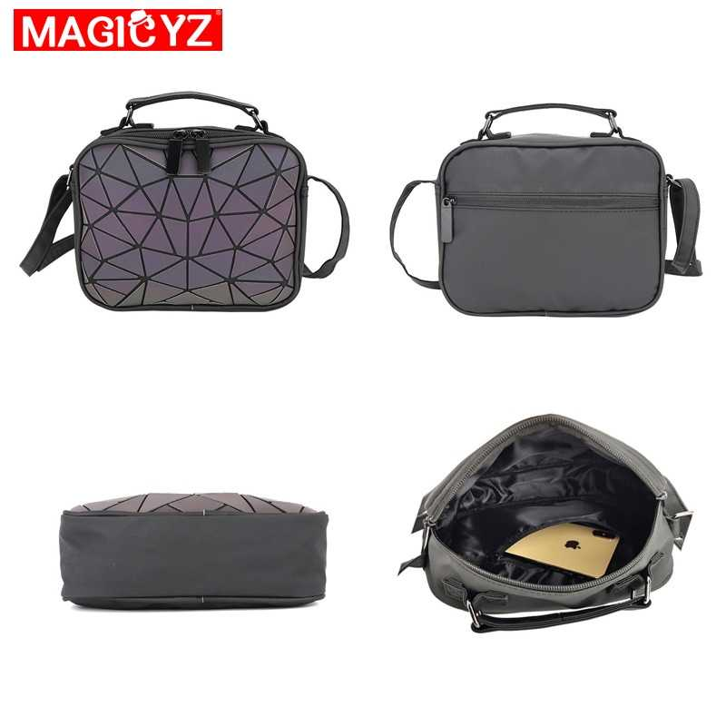 MAGICYZ النساء الليزر مضيئة حقائب صغيرة Crossbody حقائب للنساء حقيبة كتف هندسية منقوشة حقائب السيدات محفظة جلدية