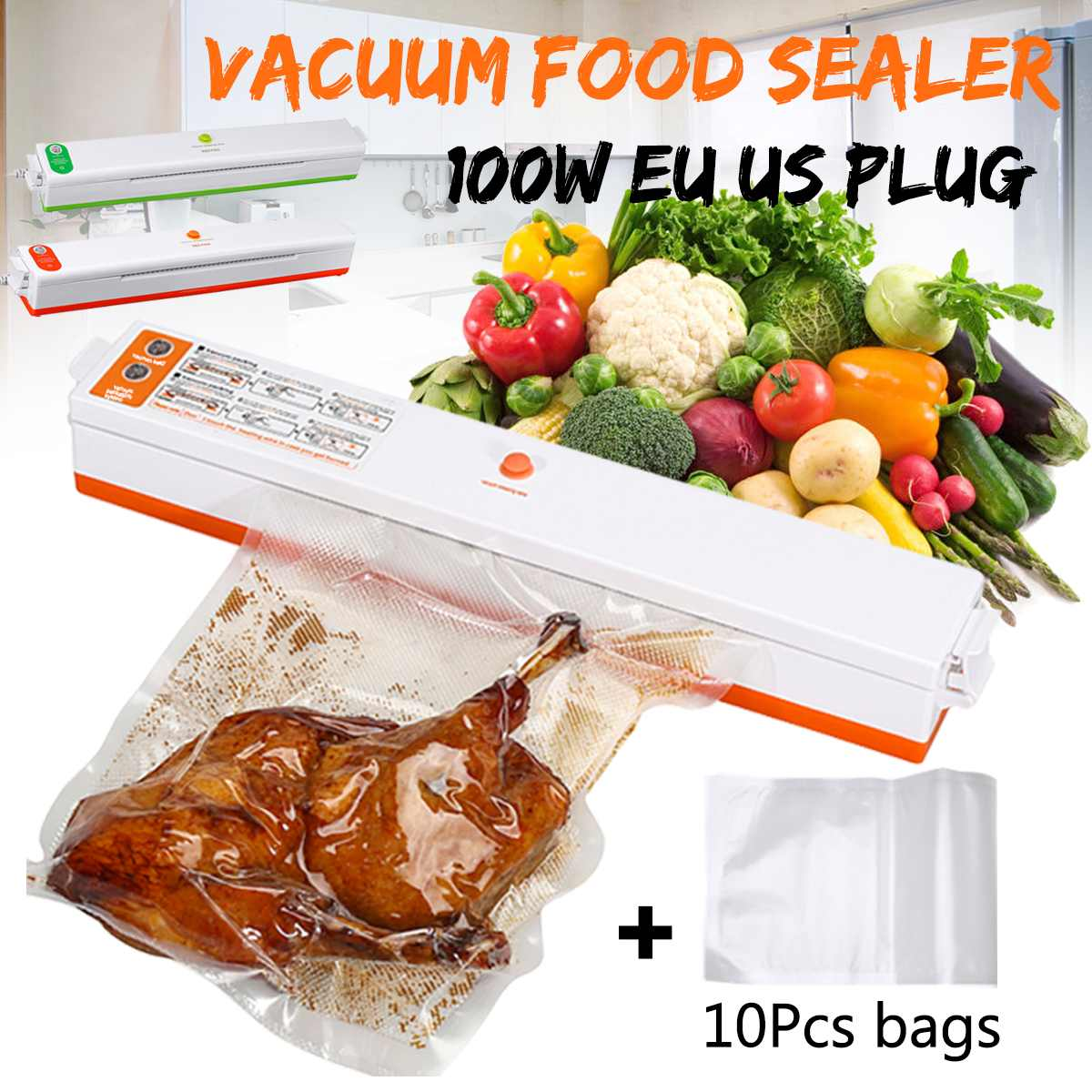 Green 200V Household Food Vacuum Sealer Packaging Auto Machine Film Sealer Vacuum Packer Including With 10Pcs Bags EU/US Plugs