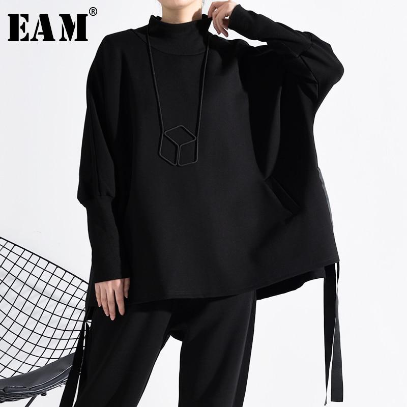 [EAM] Loose Fit Black Ribbon Split Oversized Sweatshirt New Turtleneck Long Sleeve Women Big Size Fashion Spring 2020 JY91401