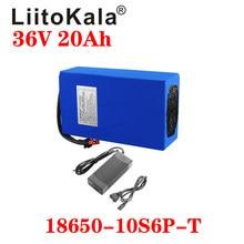 Liitokala bateria de lítio 36 v 20ah, bateria de bicicleta elétrica 36 v 20ah 1000w carregador 30a bms 42v2a