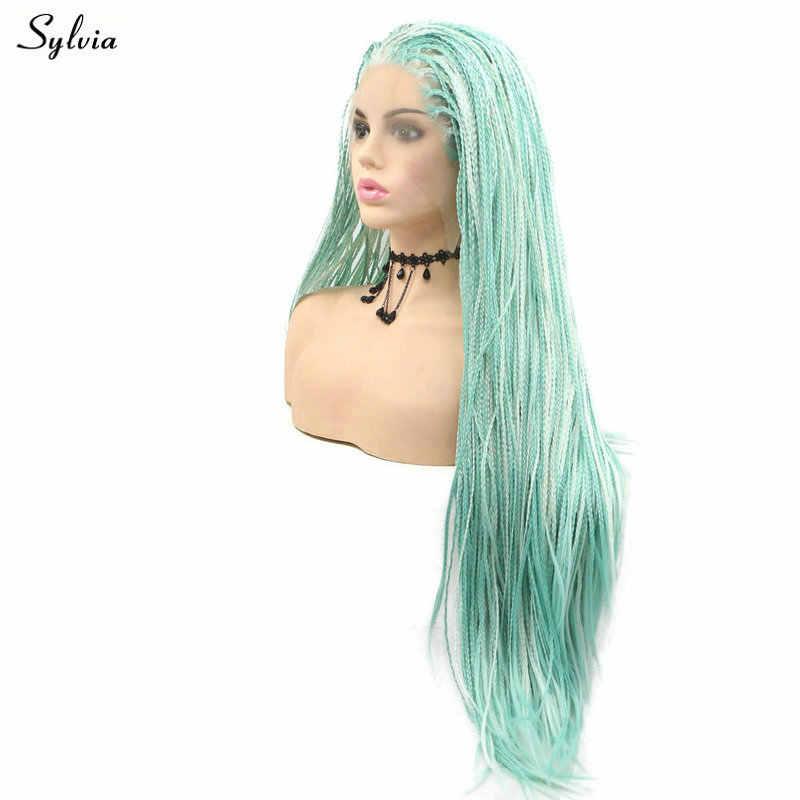 Sylvia Drag Queen Afro Amerika Box Geflochtene Perücken Highlight Farbe Pastell Blau Grün/Lavendel Lila Synthetische Spitze Front Perücken haar