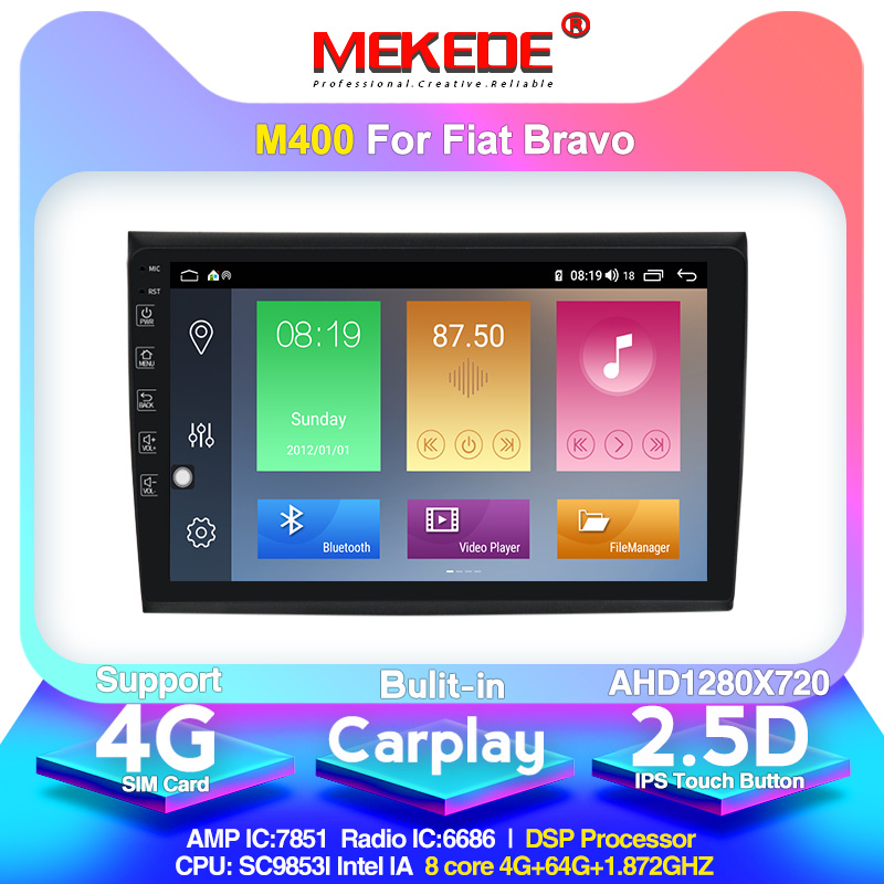 MEKEDE Android 10.0 IPS DSP 8 Core For Fiat Bravo 2007 2008 2009 2010 2011 2012 Car Radio Multimedia Video Player Navigation GPS