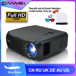 CAIWEI Full HD Projector A12 1920x1080P Android 6.0 (2G+16G) WIFI LED MINI Projector Home Cinema HDMI 3D Video Beamer for 4K(China)