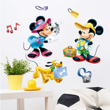 disney mickey minnie pluto take a photograph wall stickers for kids rooms home decor cartoon decals pvc mural art posters