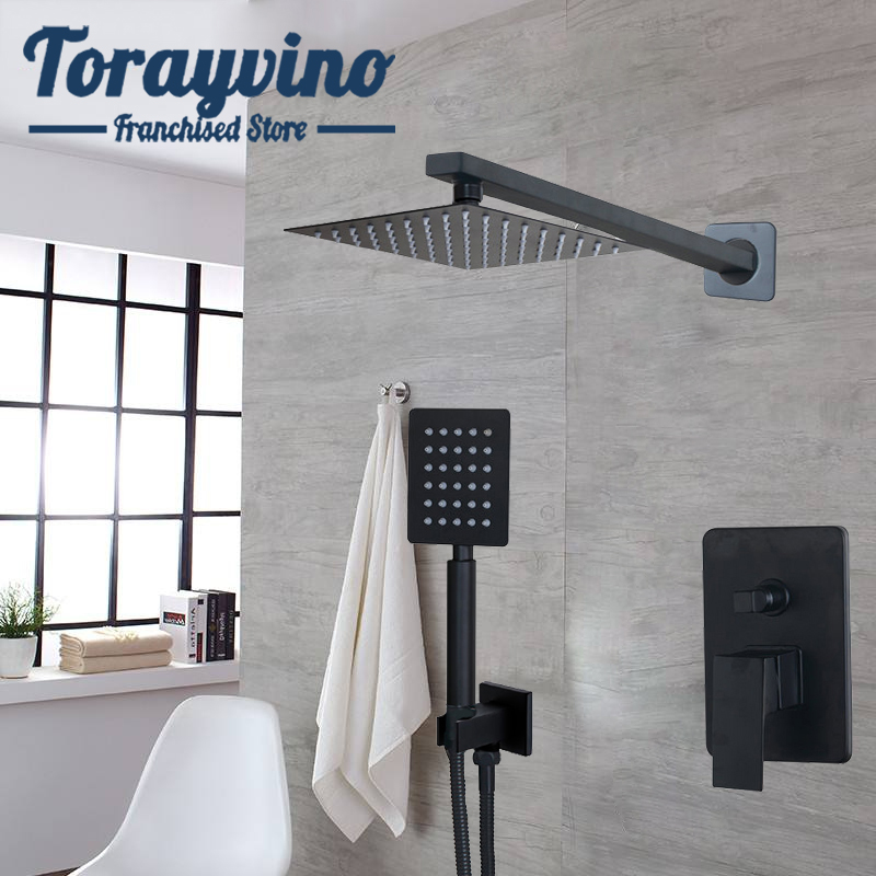Torayvino Bathroom Black Shower Set Robinet De Salle De Bain En