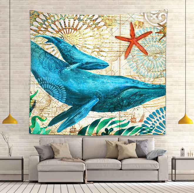 Simsant Blue Whale Tapestry Marine Life Sea Animals Art Wall Hanging Tapestries for Living Room Bedroom Home Dorm Decor