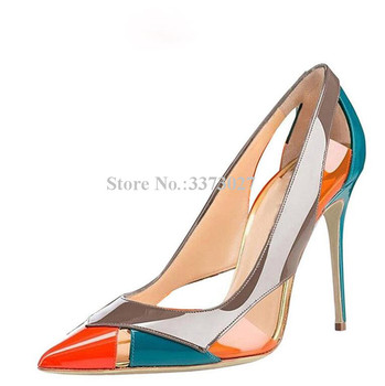 Woman Fashion Mixed Color Stiletto Heel Pumps Shoes Sexy Pointed Toe Hollow Out Patent Leather High Heels Single Shoes Lady