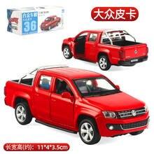 1:46 escala diecast modelo de carro para thevolks wagen amarok coleta modelo puxar para trás brinquedos carro-vermelho/branco