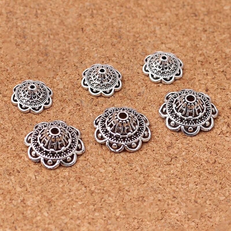 50 teile/los Ziemlich Tibetischen Silber Aushöhlen Kunsthandwerk Bead Caps 14mm 19mm Hohe Qualität Metall Quaste End Kappe DIY Schmuck Erkenntnisse