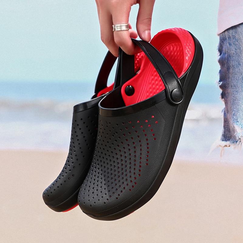 Fashion Palm Sandals For Men Hole Shoes Man Breathable Beach Sandals For Men 38-46 Garden Clogs Garden Shoes Slides Soft Bottom