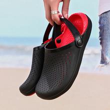 Modne sandały palmowe dla mężczyzn Hole Shoes Man oddychające sandały plażowe dla mężczyzn 38-46 chodaki ogrodowe buty ogrodowe slajdy miękkie dno tanie tanio ARLENE CI CN (pochodzenie) Podstawowe NONE LEISURE Slip-on Niska (1 cm-3 cm) Pasuje prawda na wymiar weź swój normalny rozmiar