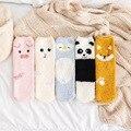 Теплые носки-трубы, плюшевые носки с милыми мультяшными животными на осень и зиму
