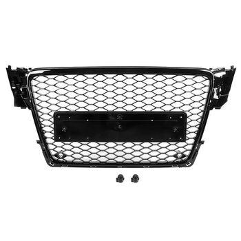 Dla RS4 Style Car Honeycomb przedni Grill zderzaka sportowa tkanina siateczkowa kaptur Grill ABS czarny pasuje do Audi A4/S4 B8 2009 2010 2011 2012