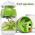 Ручной спиральный слайсер для овощей и фруктов 4/5 в 1 регулируемая спиральная Терка резак для салата инструменты лапша из цуккини для изгото...