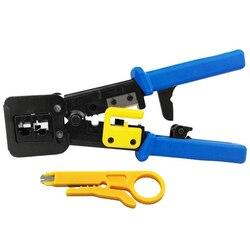 Ez Rj45 Crimp Tool for Cat 5 / Cat 6 Ez Pass- Through Connectors for Ethernet Cable Ratchet Ethernet Cable Crimping Tool Set or