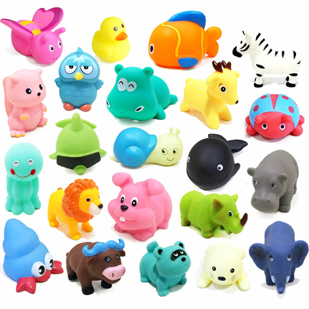 1PCS Baby Bath Toys Soft Rubber Duck Squeeze Sound  Float Animals Bathroom Swimming Water Toys for Children Boys Girls