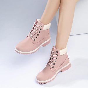 Image 5 - 冬のブーツの女性靴2020ウォームぬいぐるみ正方形のかかとの女性雪のブーツの女性レースアップアンクルブーツ冬靴女性bota ş mujer