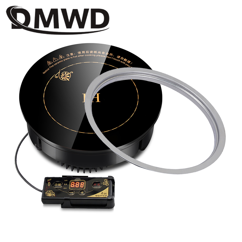 DMWD Round Electric Magnetic Induction Cooker Wire Control Embedded Mini Hob Burner Commercial Waterproof Hot Pot Stove Cooktop