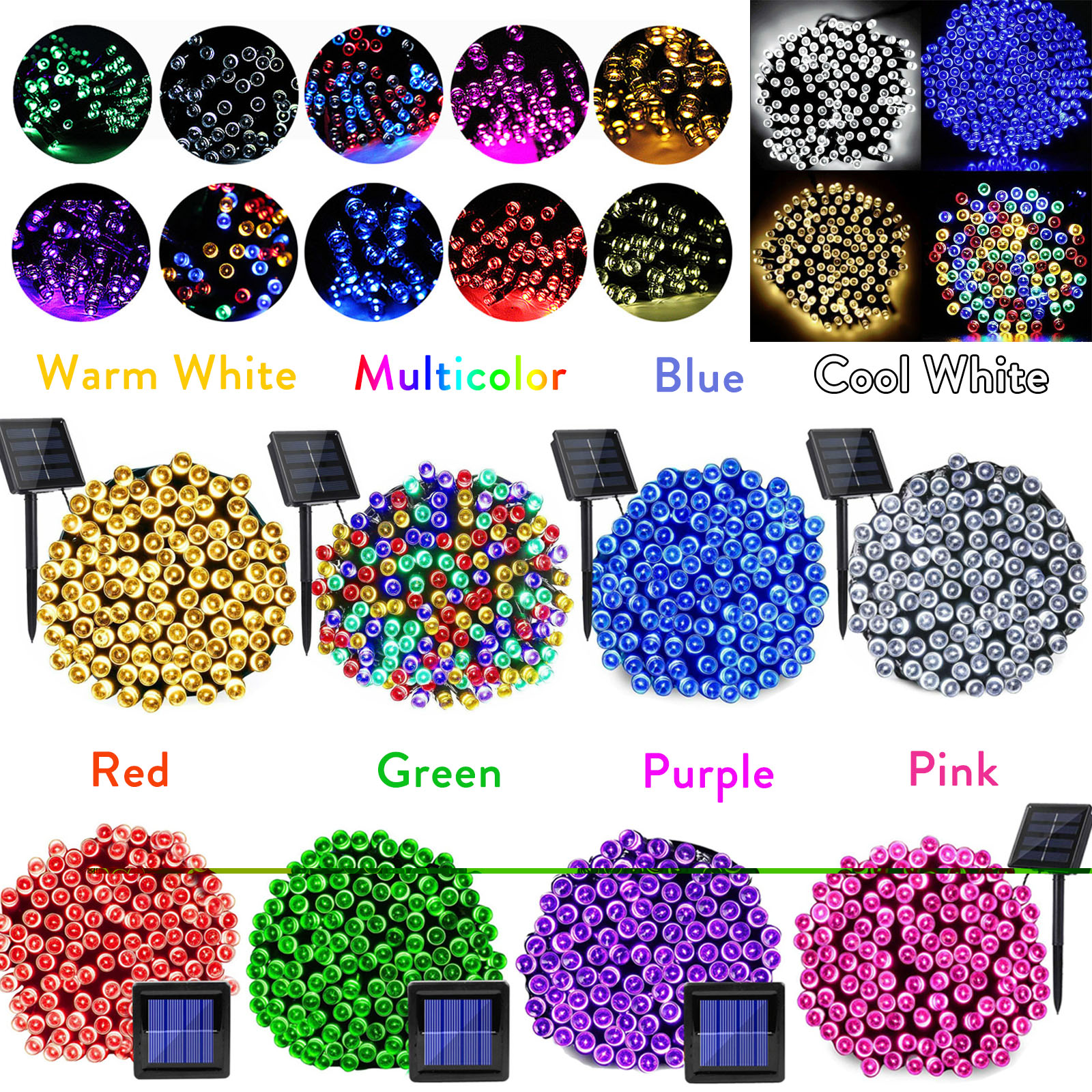 100 LED Solar Powered Fairy String Light Garland RGB 8 Colors Outdoor Garden Christmas Wedding Party Decoration Lamp Waterproof