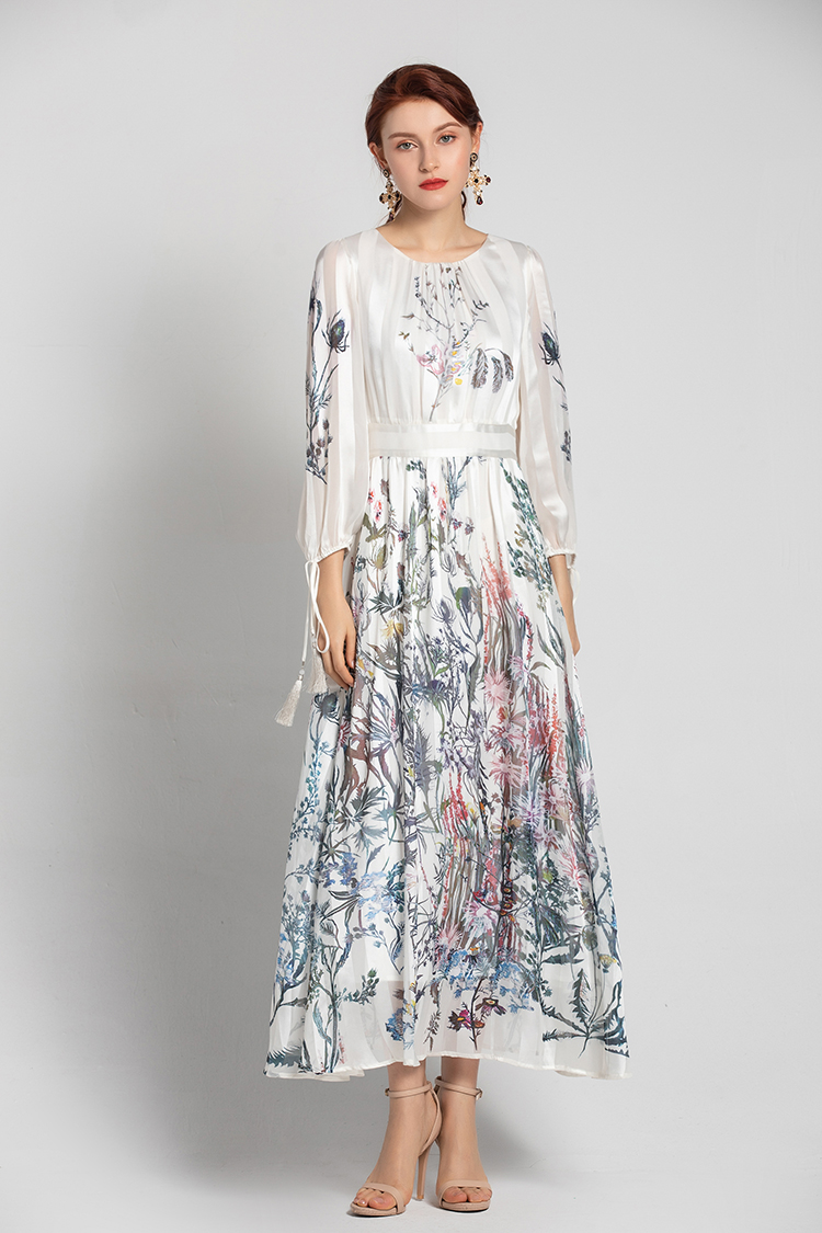 SEQINYY Elegant Long Dress 2020 Summer Spring New Fashion Design Women Tassel Digital Printing Flower A-line Loose Dress