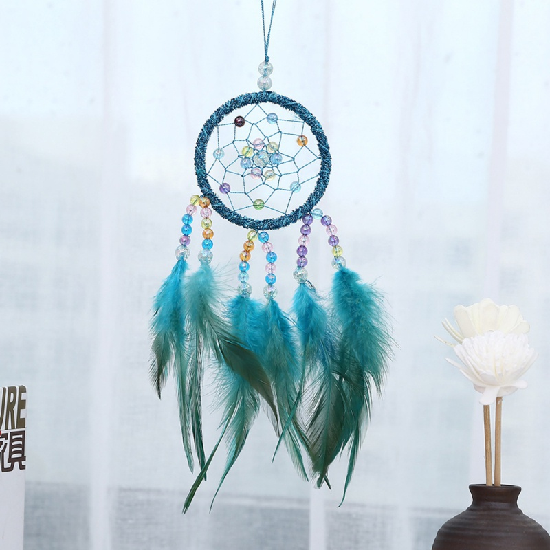 Mini Car Dream Catcher Wooden Beaded Natural Feathers Dream Catcher Handcraft Chic Hanging Ornaments Bedroom Wall Decoration