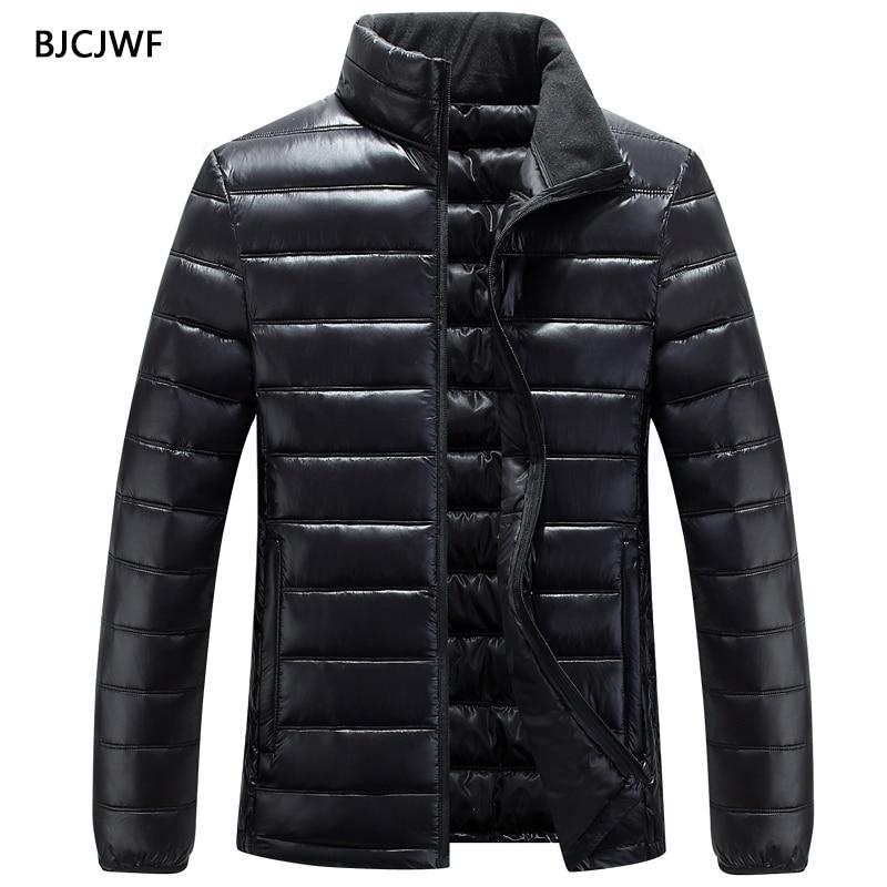 BJCJWF Winter Autumn Coat Men Slim Fit Cotton Padded Jacket Standing Collar Casual Parka Classic Outwear Veste Homme Male Coats