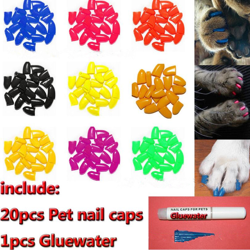20pcs Pet Dog Nail Protector Cat Nail Caps Puppy Grooming Health Care Pet Grooming Nail Cover For Dog Cat With Free Gluewater
