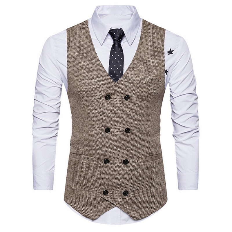 Puimentiua Suit Vest Waistcoat Vintage Men's Double-Breasted Slim-Fit Business-Party