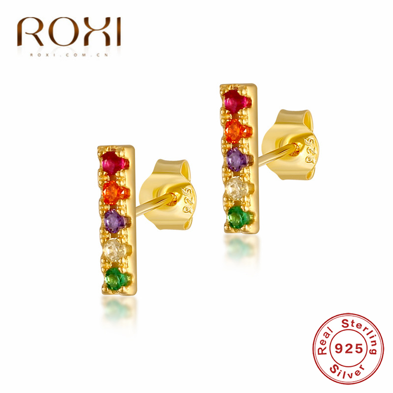 ROXI Minimalist 925 Sterling Silver Bar Stud Earrings Gold Multicolor CZ Rainbow Crystal Earrings for Women Fashion Jewelry Gift