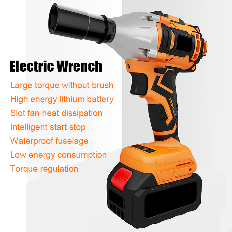 Brushless Impact Electric Wrench Shelf Electric Wrench Hand Lithium Rechargeable Wind Gun High Torque Powerful Auto Repair Tools