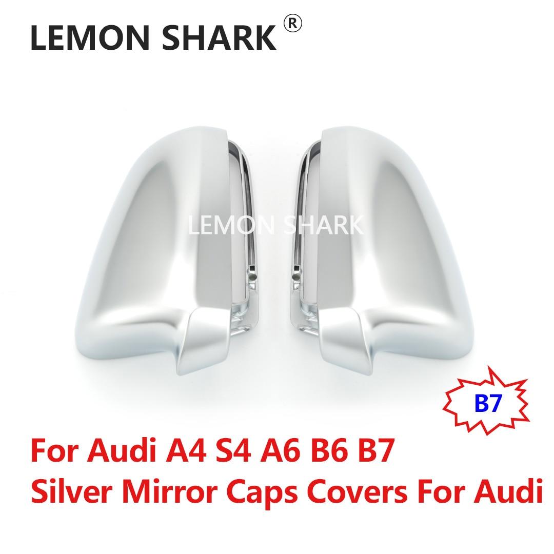 Citron requin argent mat Chrome rétroviseurs latéraux couvre S Line pour Audi A4 S4 A6 B6 B7
