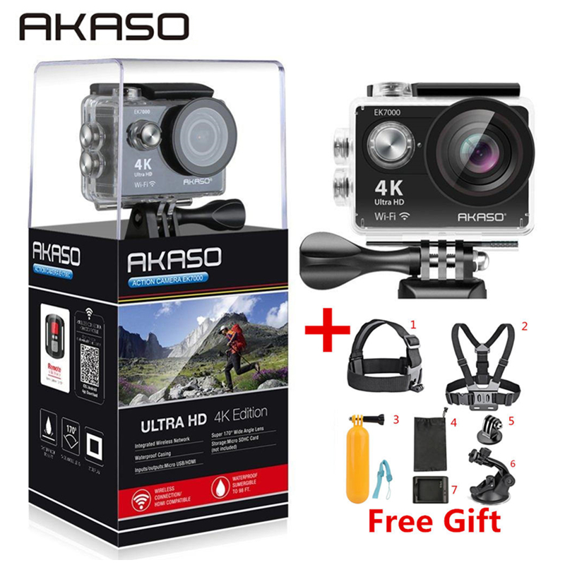 AKASO EK7000/EK5000 <font><b>4K</b></font> WIFI Outdoor-Action-Kamera Video Extreme Sport helm Ultra HD Tauchen Wasserdichte 12MP 170 weitwinkel image