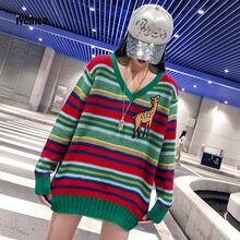 Новый полоса v образный вырез вязать свитер женщина осень и