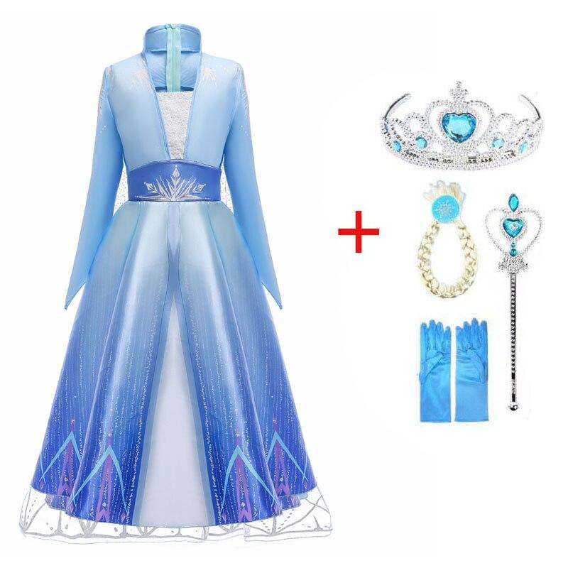 2021 New Snow Queen Girls Dress Princess Anna Elsa 2 Cosplay Costume Kids Fancy Children Gowns Vestidos Infantil