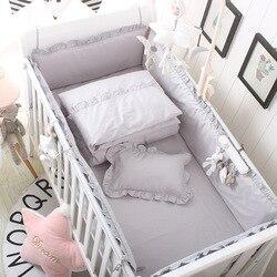 5 piezas conjunto cuna parachoques + equipado sábanas de cama de algodón de bebé cuna niños barrera para cama de niño de los niños habitación camas ropa de cama