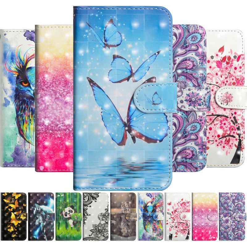 Cute Butterfly Cat Tiger Case For LG G7 G8 V40 ThinQ K8 K10 2017 2018 K30 K40 K50 Q60 Stylo 5 4 Wallet Card Pocket Case E24G