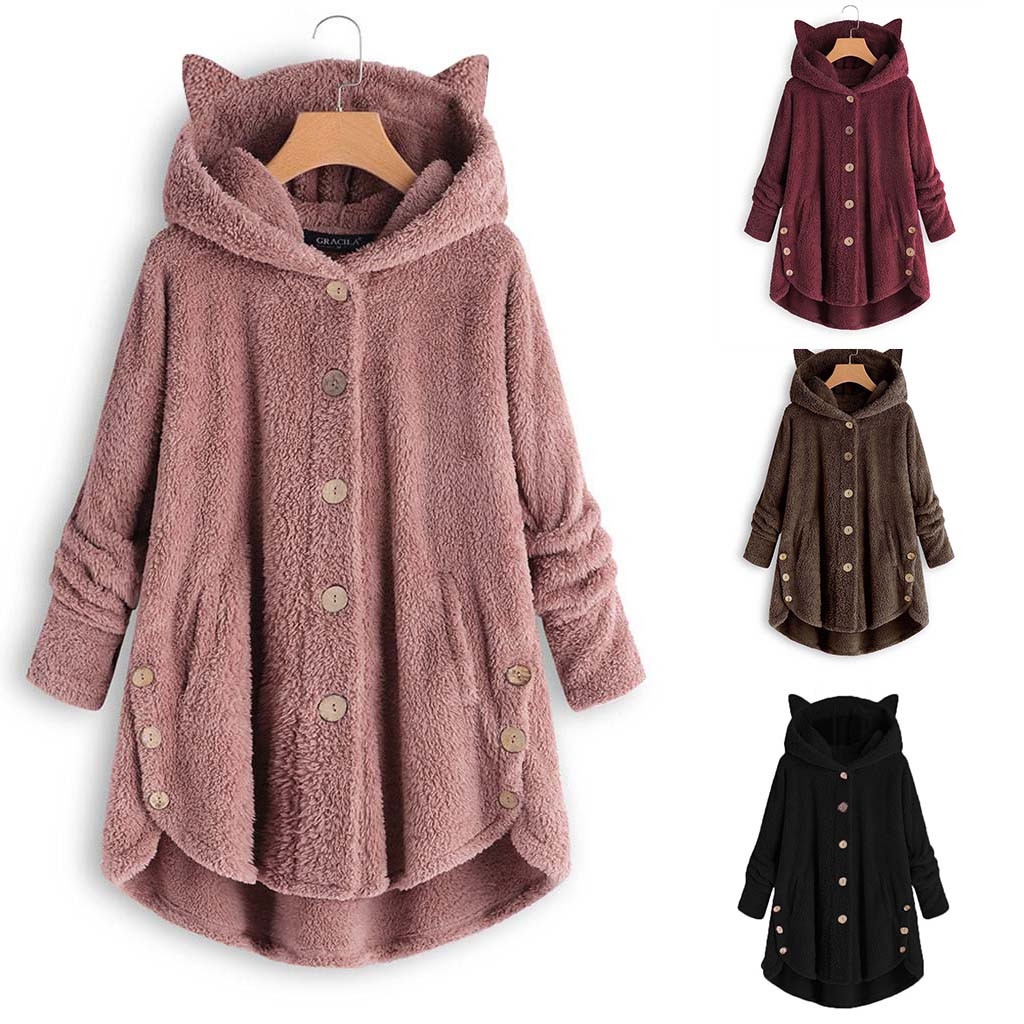 Hceedf9537b1d4e418ef189dfe2dfe8f9m Women Flannel Coat Pockets Solid fleece Tops Hooded Pullover Loose Hoodies Plus Size Cat Ear Cute Womens Warm Sweatshirt 2019