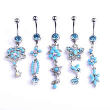 Nature Blue Crystal Stone Zircon Pendant Navel Piercing Silver Stainless Steel Heart Belly Button Rings Sexy Lady Body Jewelry