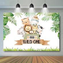 ספארי פראי אחד יום הולדת רקע ילד של 1st מסיבת יום הולדת דקור ג ונגל בעלי החיים כונן על ידי יום הולדת מצעד רקע