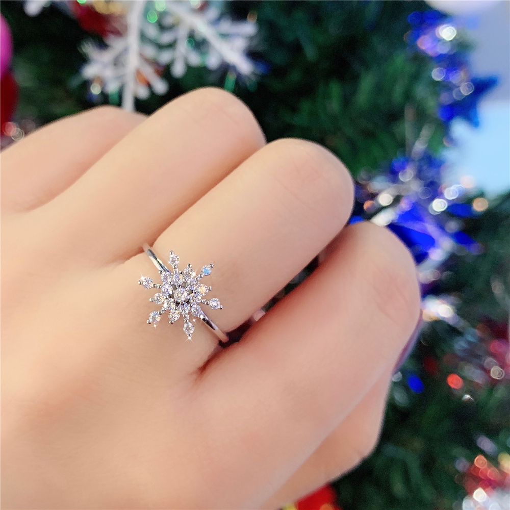 Womens Rings New Rotary Adjustable Snowflake Ring Personality Ring Fashionable And Exquisite Jewelry Best Gift For Girlfriend image