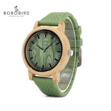 BOBO BIRD moda męska bambusowe drewniane zegarki z miękkimi paski silikonowe zegarek z mechanizmem kwarcowym kobiety w pudełkach LaB06 tanie tanio QUARTZ Klamra Nie wodoodporne Moda casual 20mm ROUND 12mm Brak Hardlex L*B06 23 5cm Papier 44mm Green Bamboo Women Men