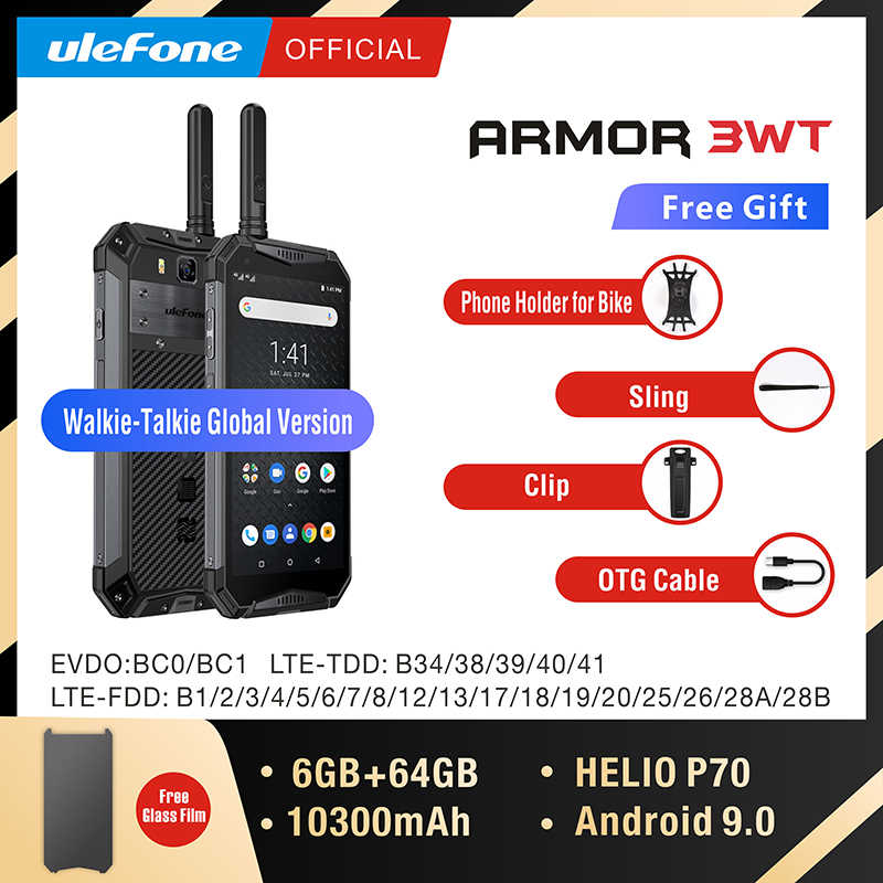 Ulefone Armor 3WT Walkie-Talkie Rugged Mobile Phone  6GB 64GB 10300mAh 21MP NFC Octa Core Android 9.0 4G Globalvision Smarphone