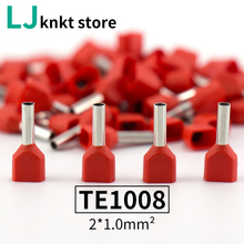 цена на 500pcs/Lot TE1008 18 AWG Pre-Insulated Terminals Wire Ferrules End E Type Double Pipe Cold-press Connector Needle End 2X1.0 mm2