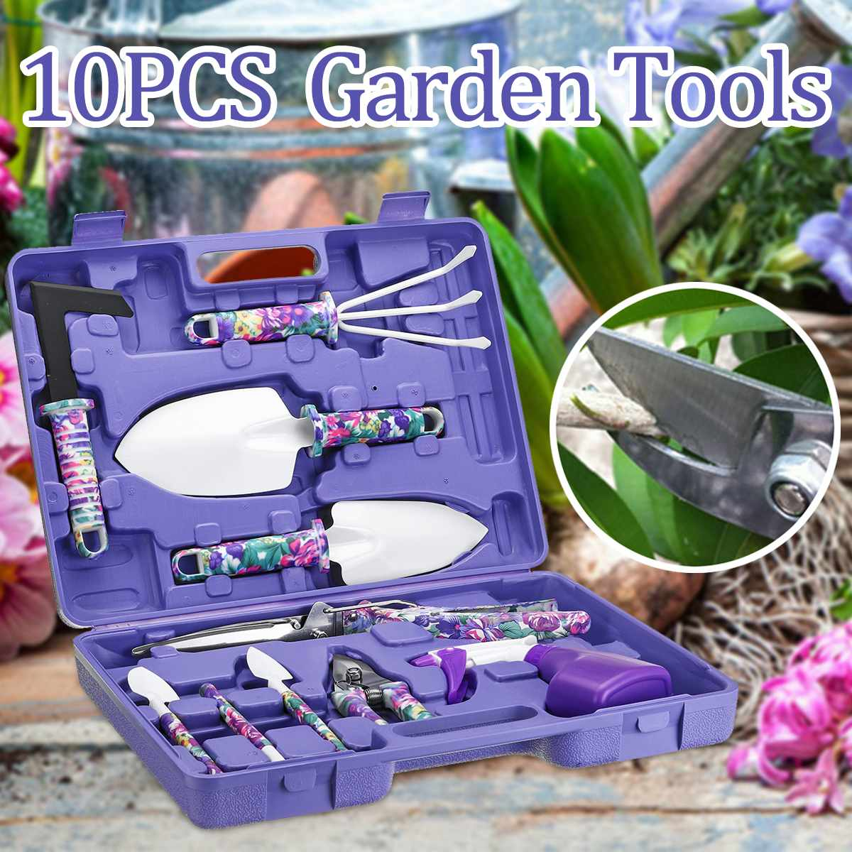 10pcs Garden Tools Set Lightweight Gardening Tools Kit Pruner Trowel Transplanting Spade Rake Spray Bottle With Box Gift