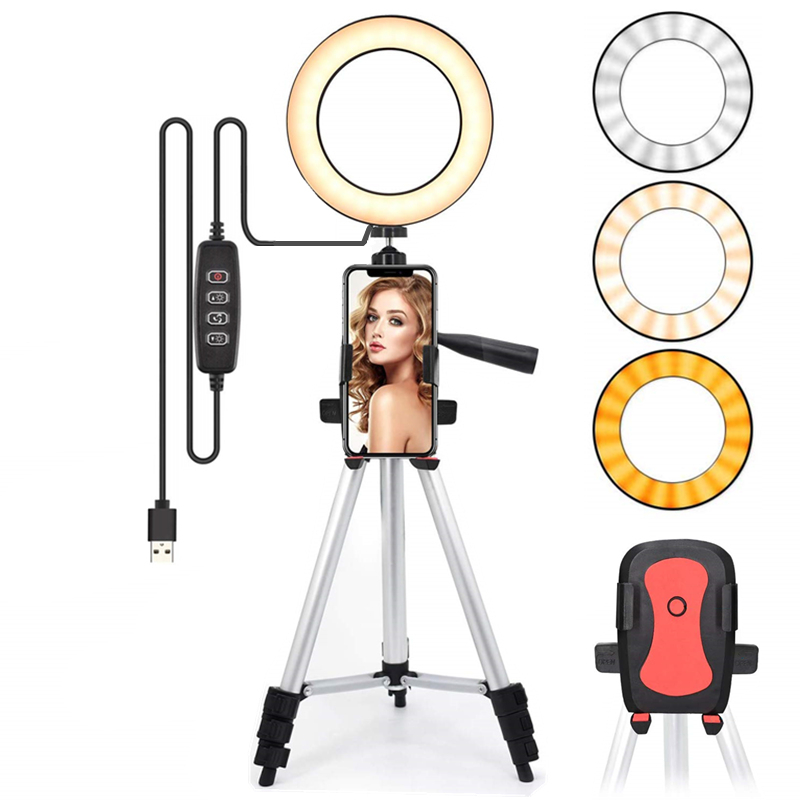 Led Light Ring For Selfie Lamp Ring Light Tripod With Lamp Photography Lighting For Youtube Holder Camera Phone Clip Studio image