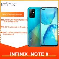 Infinix-teléfono inteligente Note 8, versión Global, 6GB y 128GB, pantalla HD de 6,95 pulgadas, batería de 5200mAh, helicoidal de carga rápida de 18W G80 Octa Core
