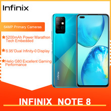 Infinix nota 8 versão global 6gb 128gb smartphone 6.95 hd hd hd + display 5200mah bateria 18w carga rápida núcleo helicoidal g80 octa